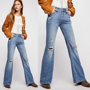 Free People Relaxed Destroyed Heritage Flare Jeans - We the Free